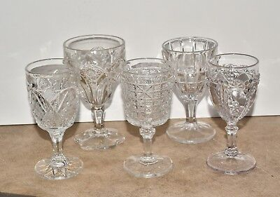 Set of 5 Antique Vtg EAPG Pressed Glass Cordials Sherry Stems Mixed Patterns