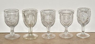 5 Small Antique Vtg EAPG Pressed Glass Cordials Sherry Stems Mixed Patterns