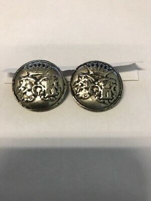 2 Medieval Buttons Pewter? Silver?