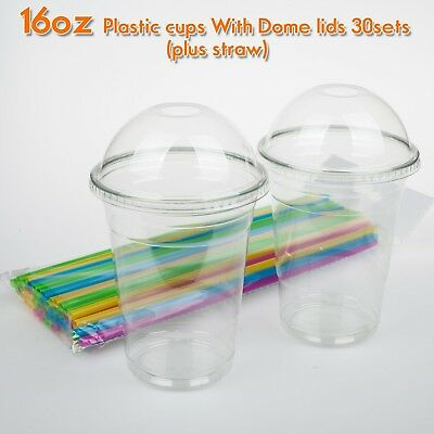 16oz Plastic Clear Cups With Dome Lids Straw 30Set