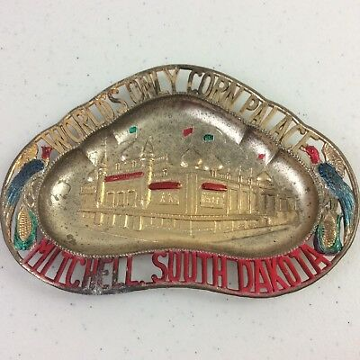 Vtg Corn Palace Mitchell, South Dakota Metal Ashtray