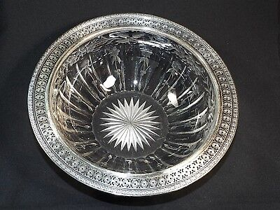 c1920 Cut Crystal Fruit Bowl with Sterling Silver Rim