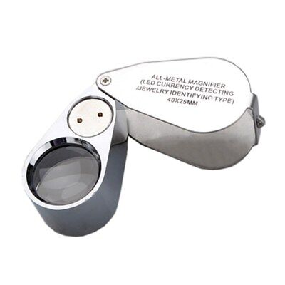 40x LED Pocket Magnifier Jeweller Eye Glass Loop Lens Magnifying Loupe UV L F9M8