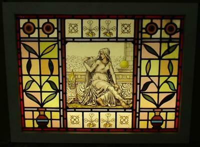 "OLD ENGLISH LEADED STAINED GLASS WINDOW Vict. Handpainted Goddess 20.25"" x 13.5"""