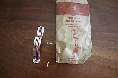 NOS Mid Century RETRO Red & Chrome Cabinet Door Pull National Lock Co N61-167