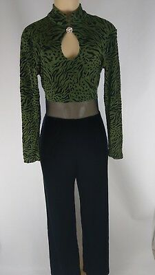 Tower U.S.A. Women's One Piece Black and Green Velour Belly Window Size Large.