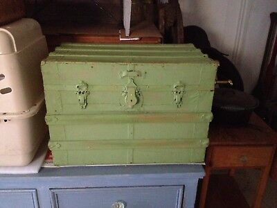 Beautiful Green Antique Steamer Trunk,Collectibles,Trunk,Home & Garden,Kustom