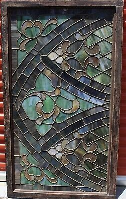 Rare Antique Church Stained Glass Leaded Window Wood Framed 56x32""