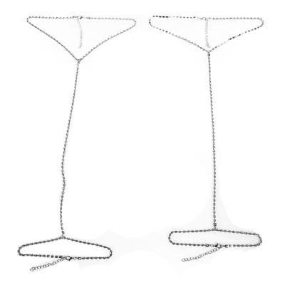2pcs Women Shiny Rhinestone Bikini Thigh Leg Chain Body Chain Jewelry Q U6Z3