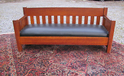 Antique Arts & Crafts Limbert Drop Arm Settle w4354  (Stickley Era)