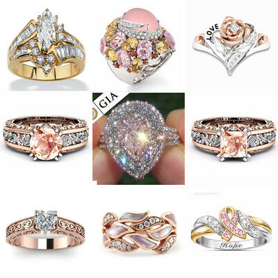 18K Rose Gold Filled Pink Sapphire Women Men Wedding Party Gift Ring Size 6-10