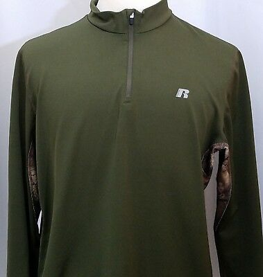 2183919c MENS RUSSELL DRI-POWER 360 Size XL 1/4 Zip Athletic Shirt Green Camo ...