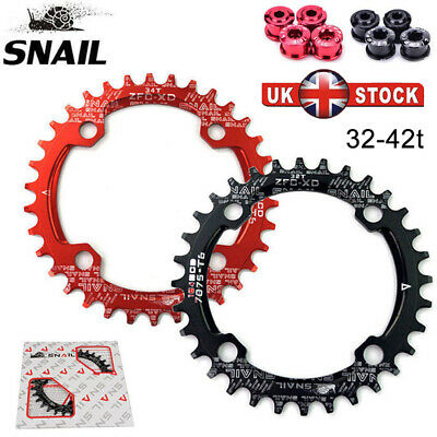 SNAIL BCD104mm 32-42T Bike MTB Chainring Round Oval Narrow Wide Crankset Bolts