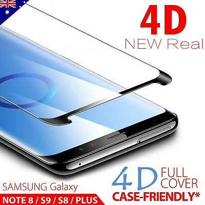 4D Samsung S9 S8 S8+ Plus Note 8 Tempered Glass Full Cover Screen Protector