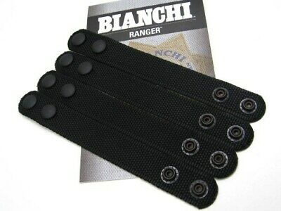 "Bianchi Black 7406 1"" Belt Keeper Dual Snap Closure Pack Of 4  15635"