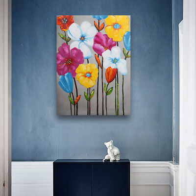 Modern Abstract Bright Flowers Hand Painted Art Oil Painting On Canvas (Framed)