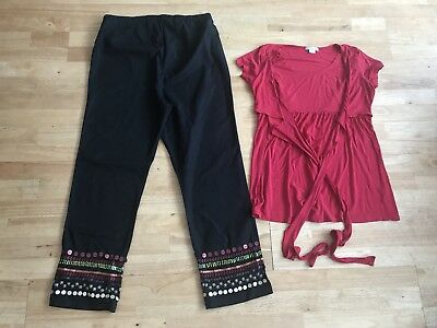 Womens maternity bundle size 12 blooming marvellous trousers mamas papas top red