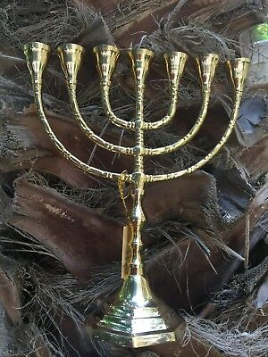 """Amazing Classic Gold Plated Jewish Menorah 7 Branches 10"""" /25cm painted candle"""