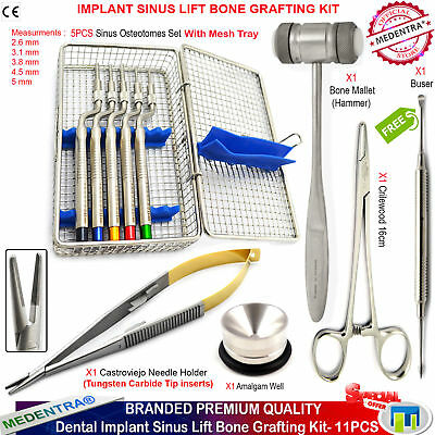 Implant Sinus Lift Periosteal Buser Concave Tip Offset Osteotomes Hammer Forceps