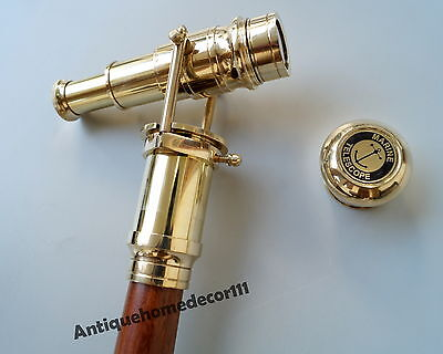 "Antique Brass Beautiful Vintage Telescope Wooden Walking Stick Cane 36""Gift Item"