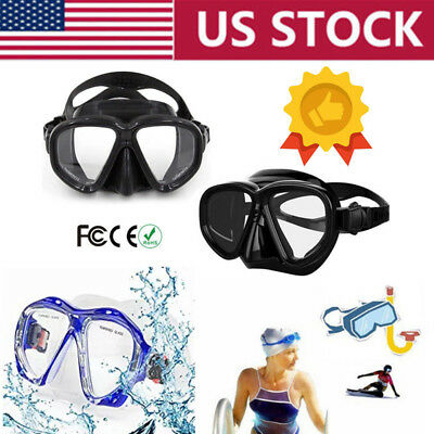 Scuba Swimming Snorkeling Diving Mask Anti-Fog Goggles Tempered Glass Lens Adult