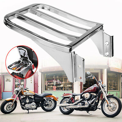 Chrome Backrest Luggage Rack For Harley Sportster XL1200 72 48 Nightster Dyna