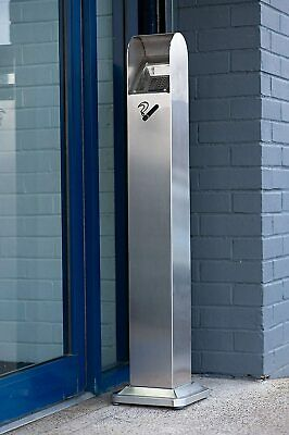 Standing Litter Rubbish Bin Cigarette Smoking Ash Tray Outdoor Stainless Steel