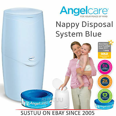 Angelcare Nappy Disposal System│Baby/Kid's Nappies/Diapers Cleaning Bin│Blue│