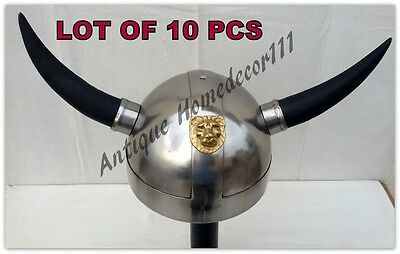 Lot Of 100 Pcs Medieval Viking Mask Helmet Reenactment Warrior With Wooden Stand