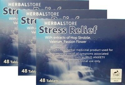 Herbal Store Stress Relief, Anxiety Pills, 48 Tablets x3 (144 Tablets)