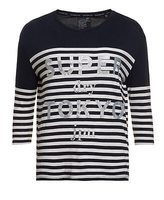 New Womens Superdry Unique Sample Nordic Breton T-shirt Size XS Navy/White