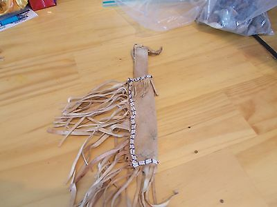 Native American Bead Work Leather Knife Holder With Bead Work