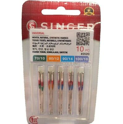 10x GENUINE SINGER SEWING MACHINE STANDARD 2020 NEEDLES MIXED SIZES 70,80,90,100