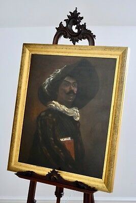 Large Antique, Early 20Th Century Continental Portrait, Oil Painting On Board