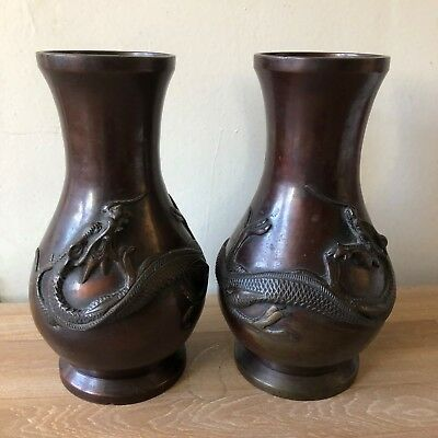Superb Pair of Antique Chinese Bronze Dragon Vases