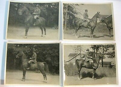 "4 (Four) Vintage Equestrian  B & W Photos 6 x 8"" Glossy Original Estate Find"