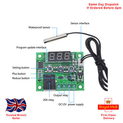 -50-110°C W1209 12V Digital Thermostat Sensor Module, With Acrylic Case.