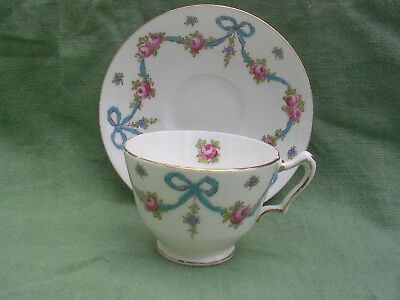 Crown Staffordshire Blue Bows & Pink Roses Tea Cup & Saucer F4547 England