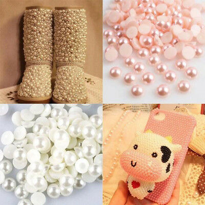 2000pcs 4mm Half Round Pearl Beads ABS Imitation Pearls for Wedding Decoration
