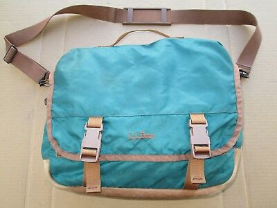Vintage LL Bean Campus Haver Sack Messenger Bag Leather Kelly Sea Green Carry-On