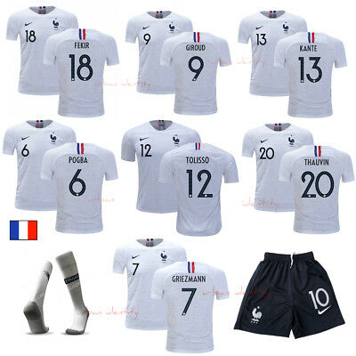 Ensemble Kits France Maillot+Short+Chaussette Blanc Adulte Exterieur 2018/19