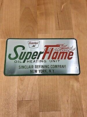 Vintage Sinclair Super Flame Aluminum Sticker from Sinclair Refining Co. NOS
