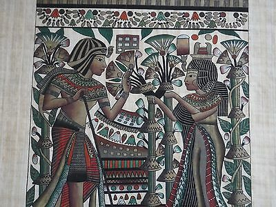 Egypt Papyrus Painting Husband Wife Couples