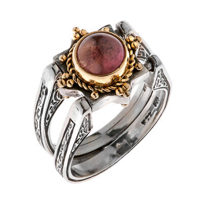 Savati ~ 22K Solid Gold & Sterling Silver Swivel Flip Ring with Tourmaline