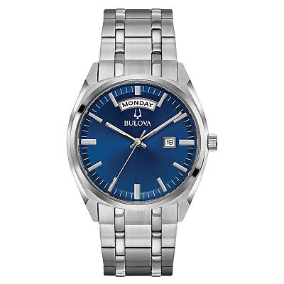 Bulova Men's 96C125 Quartz Blue Dial Silver-Tone Bracelet 39mm Watch