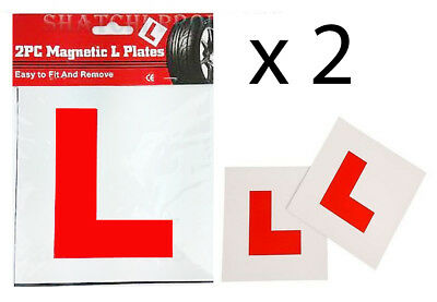 2 Genuine Fully Magnetic L Plates Car Lerner Sign Stickers Secure Safe Fix