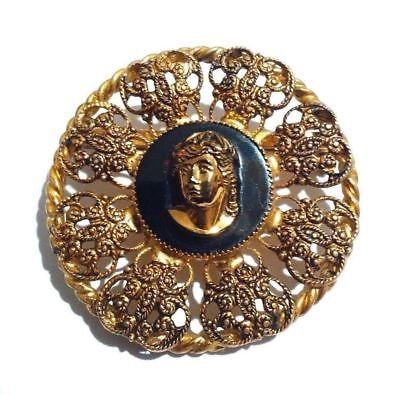 Brooch Glass Cameo Czech Pin Vintage Gold Plated Black Gilded Filigree Jewelry
