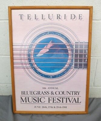 "Framed 8th Annual Telluride Bluegrass Festival 1981 Poster Tom McMurray 16""x22"""