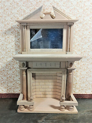 Dollhouse Miniature Large Unfinished Fireplace with Mirror DIY 1:12 Scale
