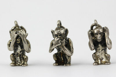 Lot of 3 Sterling Silver Three Wise Monkeys Charms